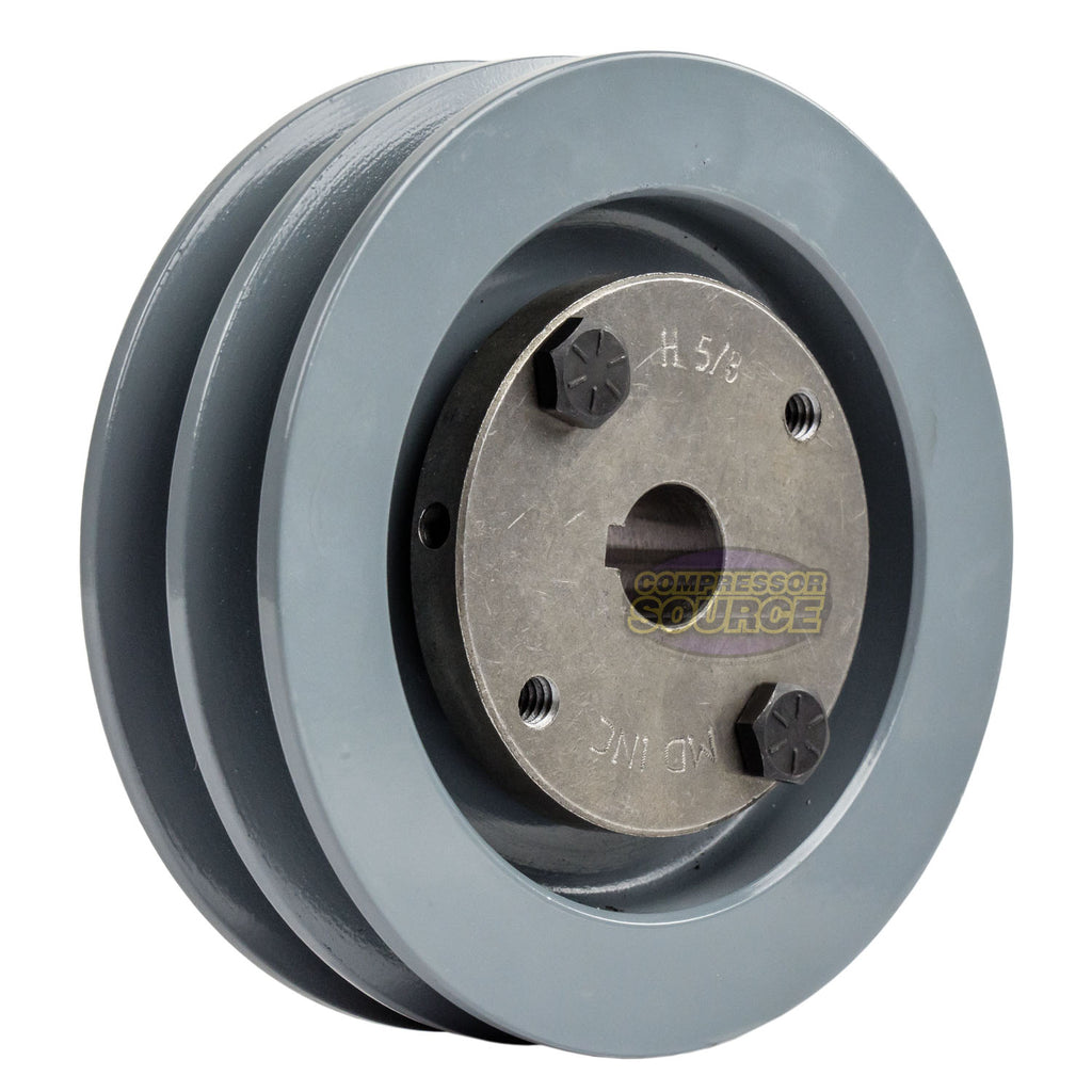 "4.5"" 2 Piece Cast iron Dual Groove Pulley A Belt (4L) Style With 5/8"" Bore H Bushing 2AK46H"