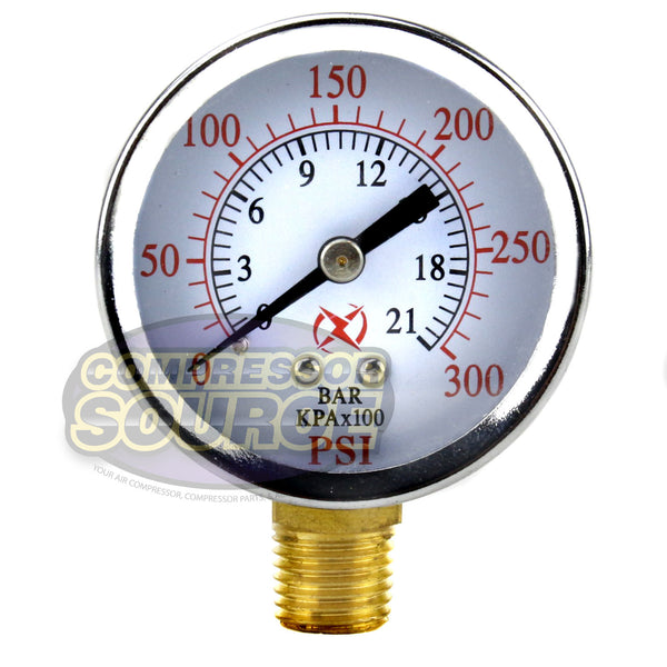 "Air Compressor Pressure / Hydraulic Gauge 2"" Face side Mount 1/4"" NPT 0-300 PSI"
