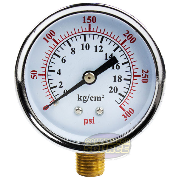 "1/4"" 0-300 PSI 2.5"" Side / Lower Mount Air Pressure Gauge Compressor / Hydraulic"