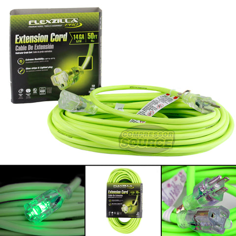50 Ft Extension Cord Flexzilla Pro Electric Power Cable Indoor Outdoor 14 Gauge Lighted Plug Indoor/Outdoor Use