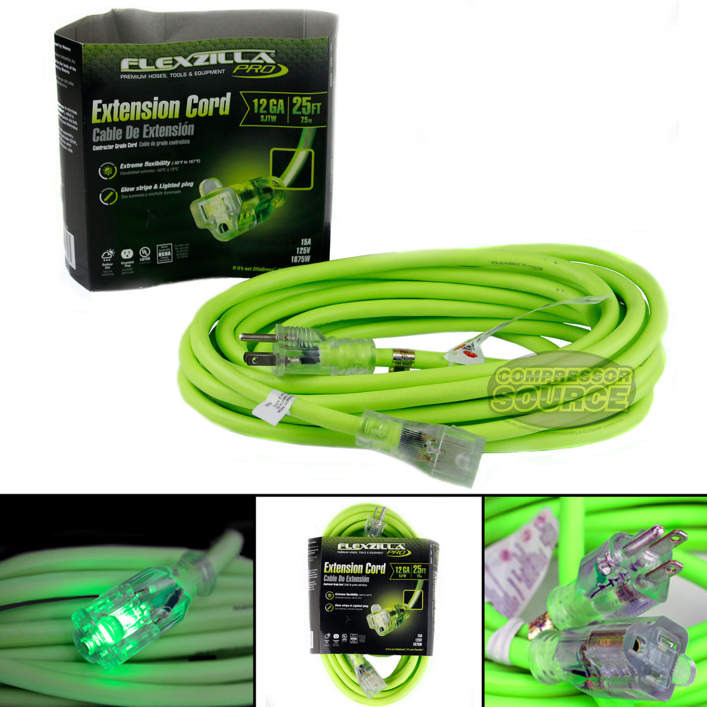 25 ft Flexzilla Pro Electric Extension Power Cord Cable Indoor Outdoor 12 gauge