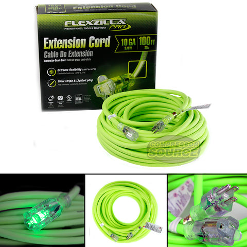100 ft Flexzilla Pro Electric Extension Power Cord Cable Indoor Outdoor 10 gauge