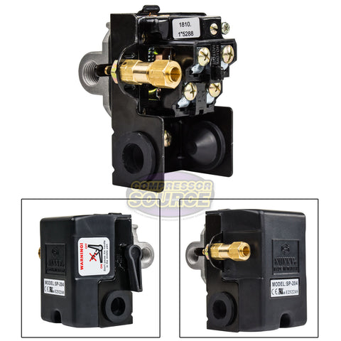 4 Port 25 Amp 140-175 PSI Heavy Duty Air Compressor Pressure Switch