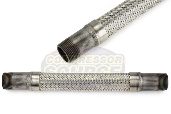 "1"" x 12"" Stainless Steel Compressed Air Line Metal Flex Hose Tubing"
