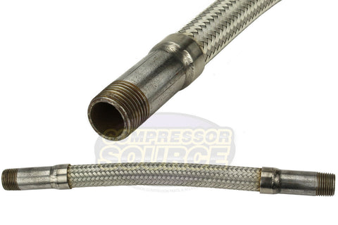 "1/2"" x 12"" Stainless Steel Compressed Air Line Metal Flex Hose Tubing"