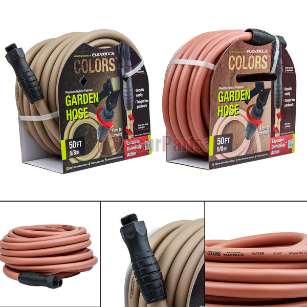"2 Pack 5/8"" X 50' Garden Water Hose w/ Swivel Grips Brown and Red Clay Flexzilla"
