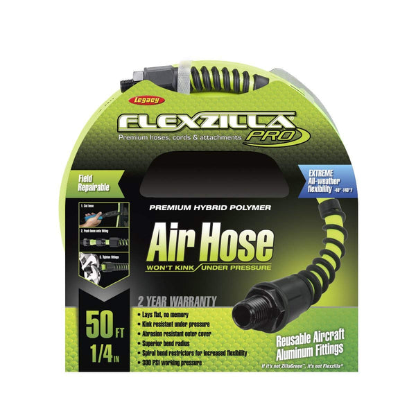 "Legacy Flexzilla 1/4"" x 50' Compressed Air Hose Field Repairable HFZP1450YW2 New"