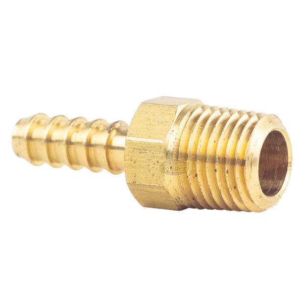"Brass Hose Barbs 1/4"" Male NPT for 1/4"" ID Hoses Barbed Fitting Air Fuel 2 Pack"
