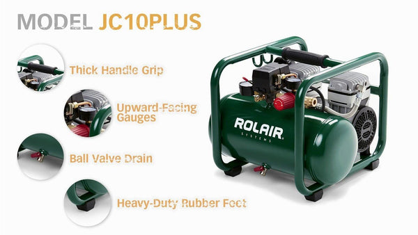 Rolair JC10 Hand Carry Portable 1 HP Super Quiet Air Compressor