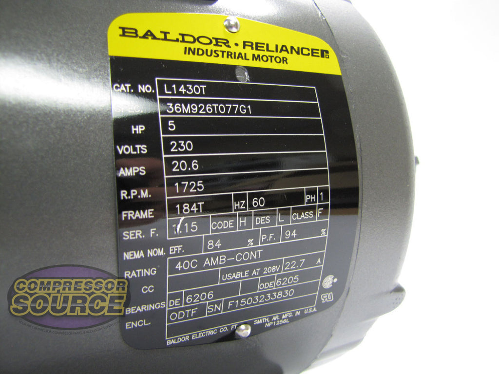 Baldor 5 Hp Single Phase Electric Compressor Motor 184t Frame 230v Motors 1725 Rpm