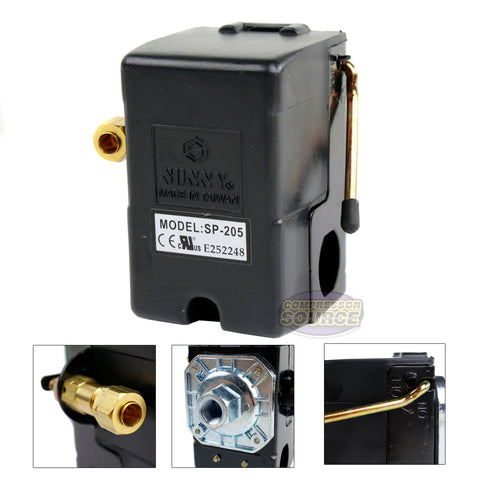 Single Port 25 Amp 95-125 PSI Heavy Duty Air Compressor Pressure Switch
