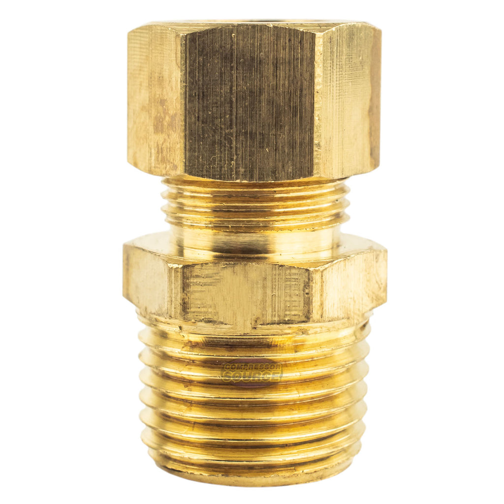 "1/2"" OD x 1/2"" Male NPT Connector Brass Compression Fitting for 1/2"" OD Tube"