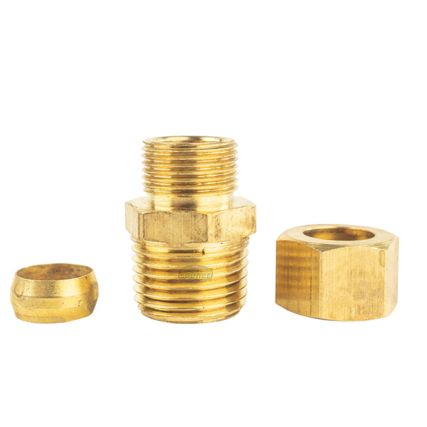 "10 Pack 1/2 x 1/2"" Male NPT Connector Brass Compression Fitting for 1/2"" OD Tube"