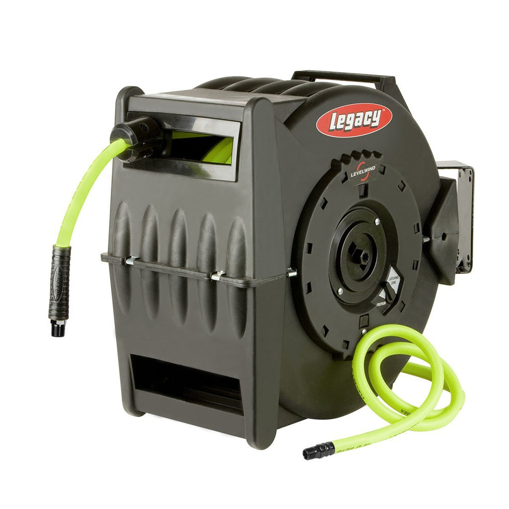 "Retractable Legacy Flexzilla 3/8"" x 75' L8306FZ Levelwind Air Hose Reel with Wall Mounting Bracket"