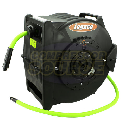 "Retractable Flexzilla 1/2"" x 50' L8335FZ Air Hose Reel Levelwind with Wall Mount"
