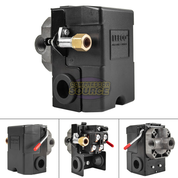 Heavy Duty 4port 26 Amp Air Compressor Pressure Switch Control Valve 140-175 PSI