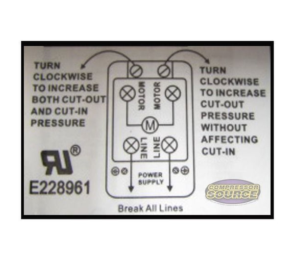 4 Port 26 Amp 95-125 PSI Heavy Duty Pressure Switch