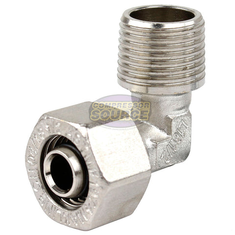 "Maxline 90° Elbow Fitting 1/2 Tubing x 1/2"" Male NPT Compressed Air Piping M8085"