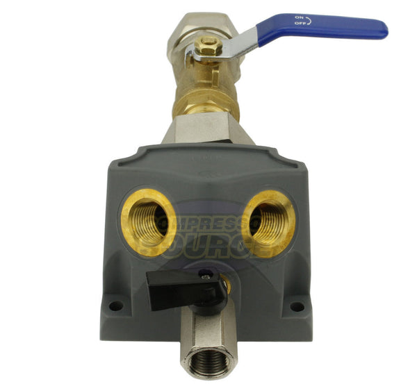 "RapidAir MaxLine 1"" Tubing Inlet Dual 1/2"" Outlet Air Drop Port with Ball Valve M8203V"