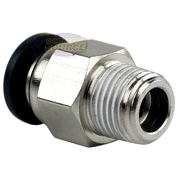 "5 Pack 1/8"" Male NPT x 1/4 OD Tube Female Push In To Lock Connect Straight Fitting Prevost RPDMR4120"