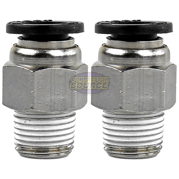 "2 Pack 1/8"" Male NPT x 1/4 OD Tube Female Push In To Lock Connect Straight Fitting Prevost"