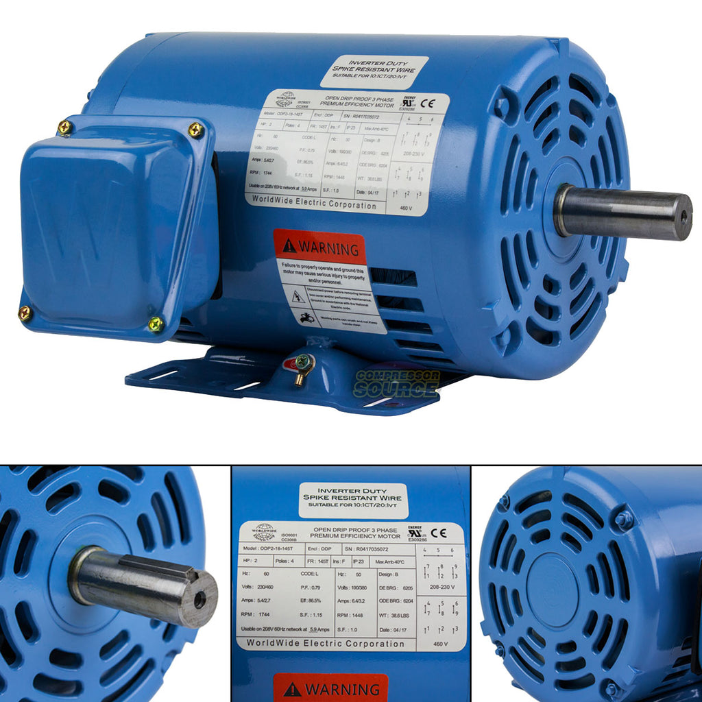 2 HP 3 Phase Electric Motor 1800 RPM 145T Frame ODP Enclosure 230 ...