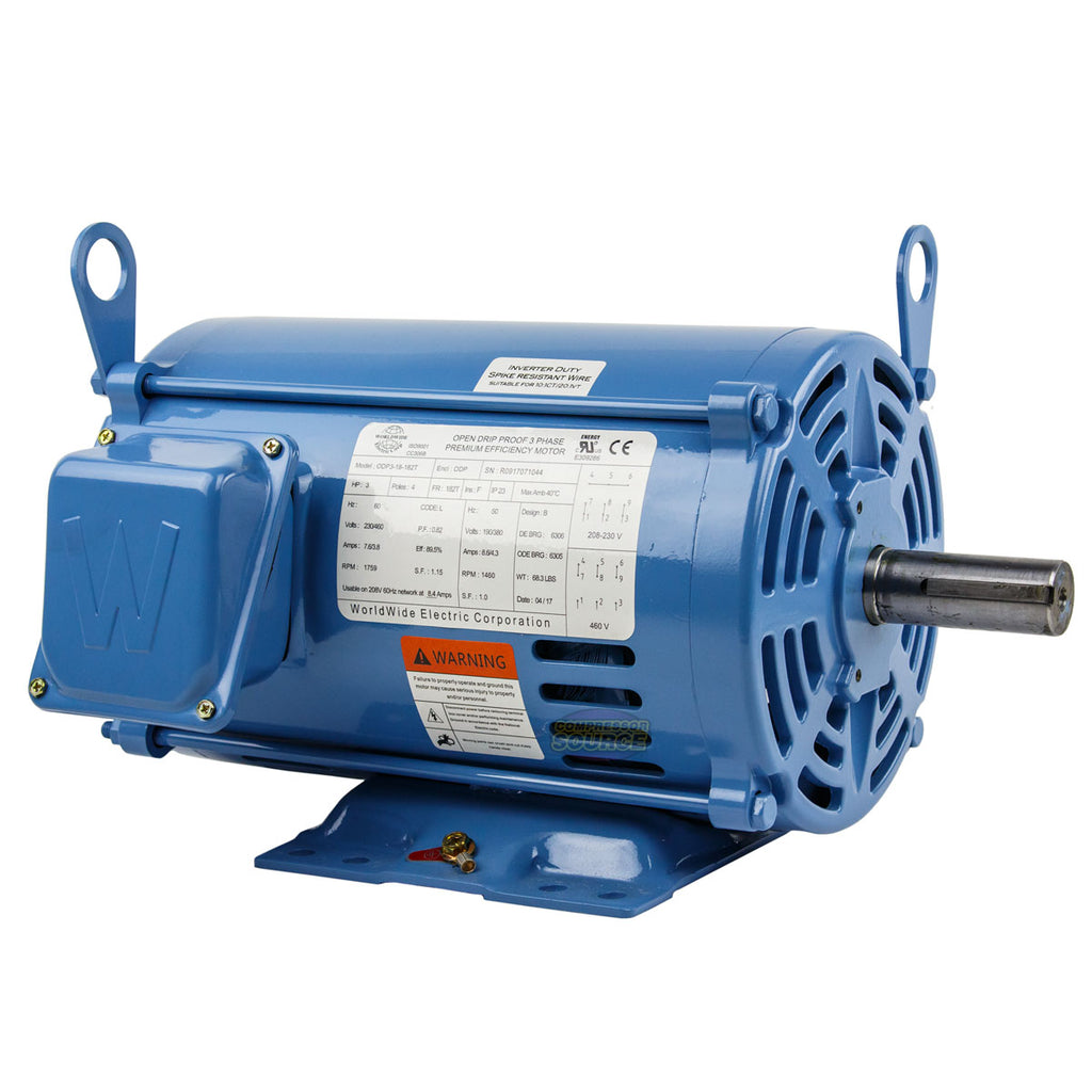 3 HP 3 Phase Electric Motor 1800 RPM 182T Frame ODP Open Drip Proof  230/460V