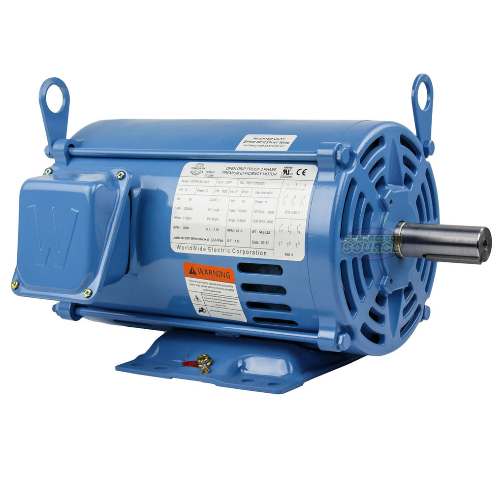 5 HP 3 Phase Electric Motor 3600 RPM 182T Frame ODP Open Drip Proof 230/460V