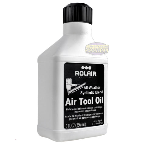 Rolair Pneumatic Air Tool Oil Lubricant 8oz. w/ Easy Pour Spout
