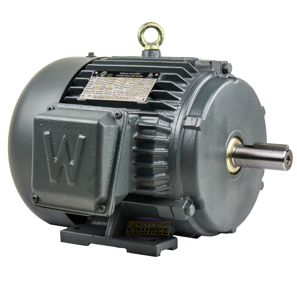 3 HP 3 Phase Electric Motor 1800 RPM 182T Frame TEFC 230/460V Premium Efficiency