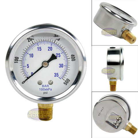 "Quality Liquid Filled 2.5"" 500 PSI Air Pressure Gauge Lower Side Mount"