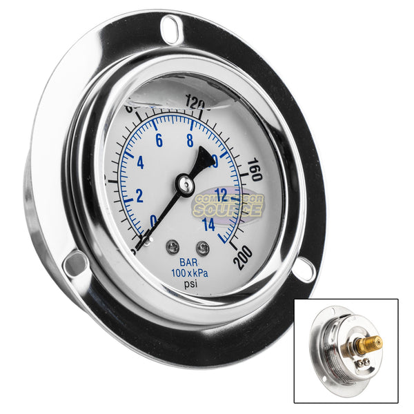 "2.5"" Liquid Filled Pressure Gauge 0-200 PSI 1/4"" NPT CBM Panel Flush Mount 204L-254G"