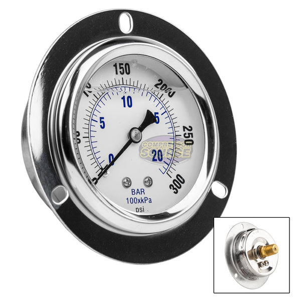 "2.5"" Liquid Filled Pressure Gauge 0-300 PSI 1/4"" NPT CBM Panel Flush Mount 204L-254H"