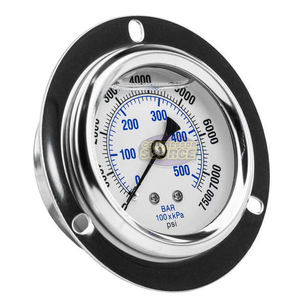 "2.5"" Liquid Filled Pressure Gauge 0-7,500 PSI 1/4"" NPT CBM Panel Flush Mount 204L-254T"