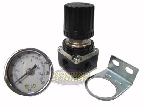 "1/4"" NPT Air Compressor Regulator w/ 0-160 PSI Pressure Gauge & Wall Mount"