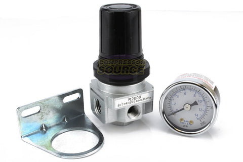 "1/4"" Industrial Air Compressor Pressure Regulator with Gauge and Wall Mounting Bracket"