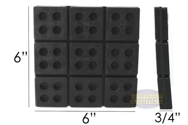 "Set of 4 New Industrial Anti Vibration Pad 6"" x 6"" x 3/4"" Thick"