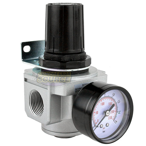 "3/4"" Air Compressor Pressure Regulator with Gauge and Wall Mounting Bracket"