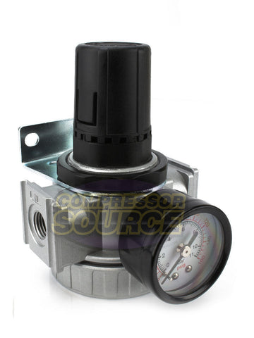 "1/4"" Heavy Duty Air Compressor Pressure Regulator with Gauge and Wall Mounting Bracket"