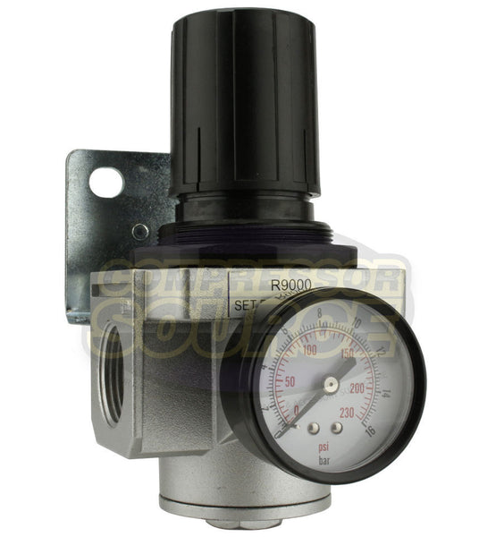 "1"" Air Compressor Pressure Regulator with Gauge and Wall Mounting Bracket"