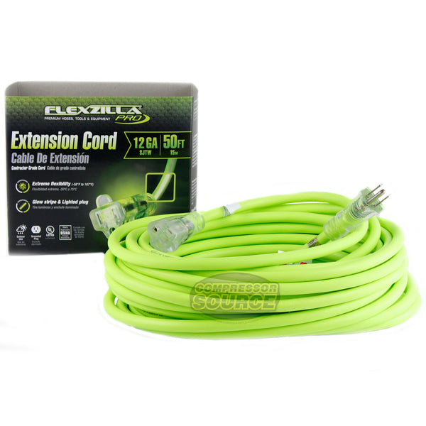 50 ft Flexzilla Pro Electric Extension Power Cord Cable Indoor Outdoor 12 Gauge