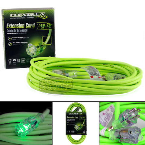 25 ft Flexzilla Pro Electric Extension Power Cord Cable Indoor Outdoor 14 gauge