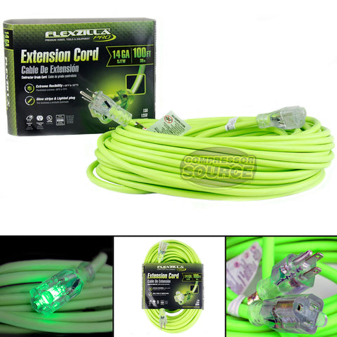 100 ft Flexzilla Pro Electric Extension Cord Power Cable Indoor Outdoor 14 gauge