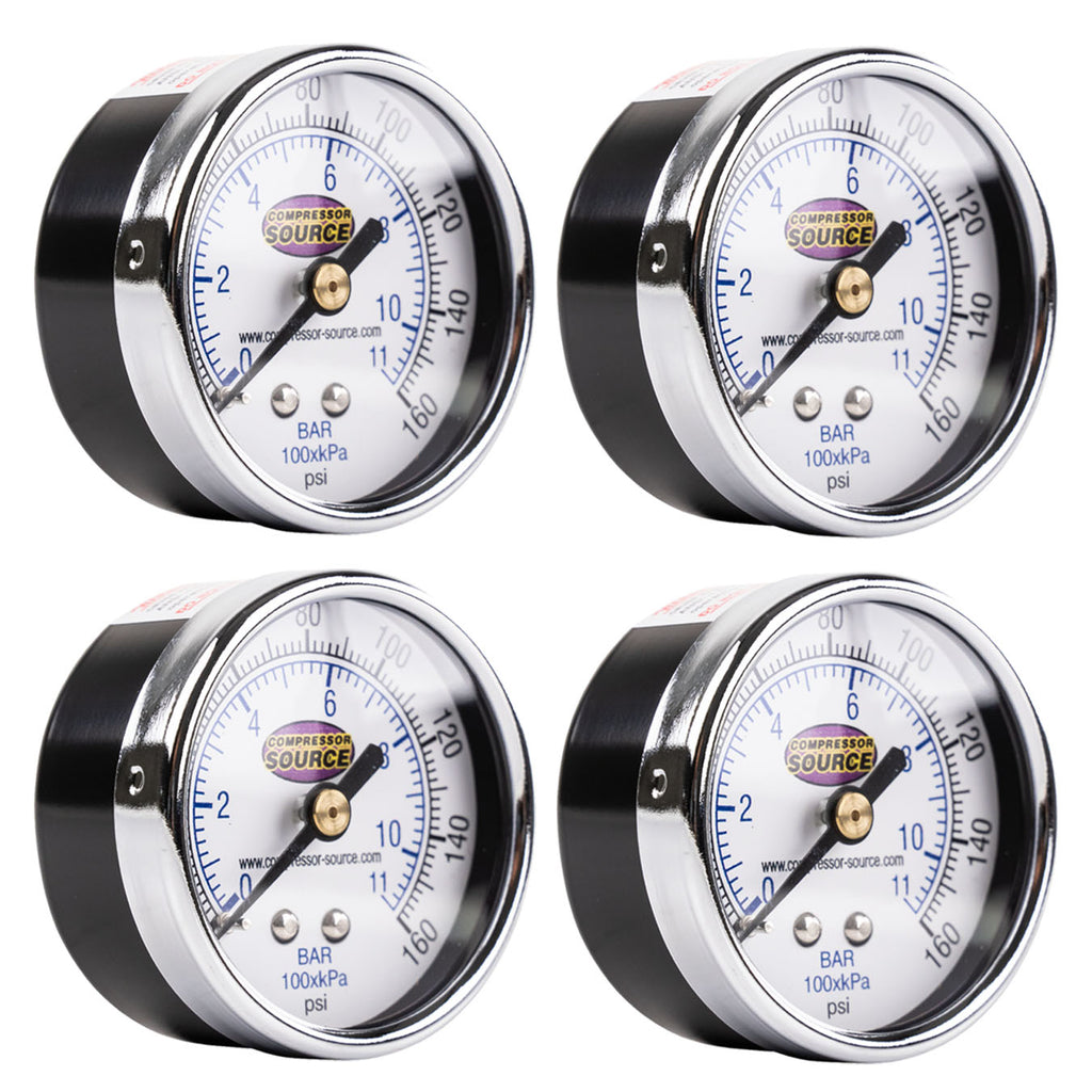 "0-160 PSI Air Pressure Gauge 1/4"" NPT Center Back Mount CBM 2"" Face 4 Pack"