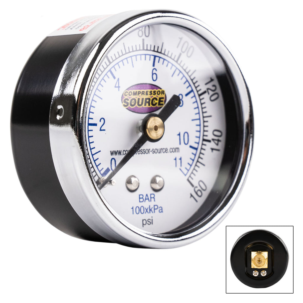 "Quality 0-160 PSI Air Pressure Gauge 1/4"" NPT Center Back Mount CBM 2"" Face"