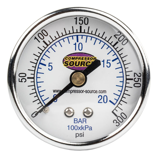 "Quality 0-300 PSI Air Pressure Gauge 1/4"" NPT Center Back Mount CBM 2"" Face"