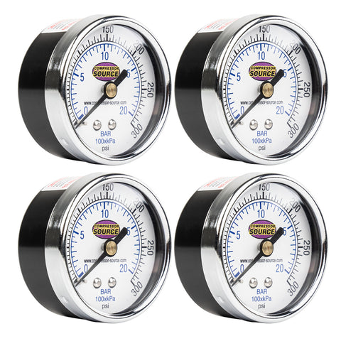 "0-300 PSI Air Pressure Gauge 1/4"" NPT Center Back Mount CBM 2"" Face 4 Pack"