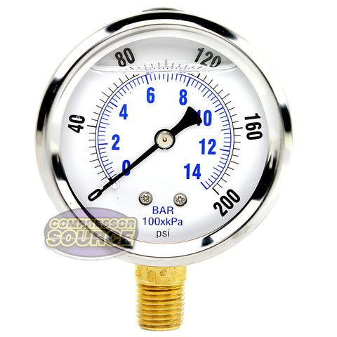 "Liquid Filled 0-200 PSI Lower Side Mount Air Pressure Gauge With 2.5"" Face"