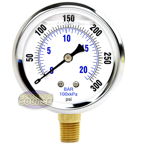 "Liquid Filled 0-300 PSI Lower Side Mount Air Pressure Gauge With 2.5"" Face"