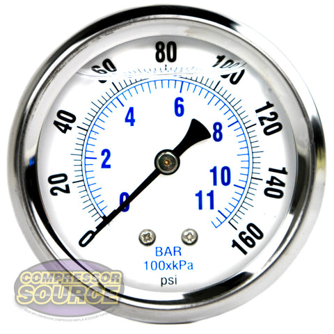 "Liquid Filled 0-160 PSI Center Back Mount Air Pressure Gauge With 2.5"" Face"